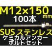 ケミカル アンカーボルト セット ステンレス SUS M12×150mm 100本 寸切ボルト1本 ナット2個 ワッシャー1個 Vカット 両面カット SUS304「取寄せ品」