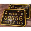 ホノルル ハワイ 自転車 ナンバープレート(黒) 70sデッドストック HAWAII HONOLULU アメリカ雑貨 アメリカン雑貨