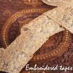 Gota embroidery 刺繍 更紗 チロリアンテープ メーター売 レース生地に金糸が美しい 更紗模様のゴータ刺繍〔幅 約6.5cm〕