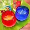 ご結婚祝い・引出物・記念日にどうぞ!琉球ガラス・ペアグラスギフト・ ハーフ泡タルグラスセット(赤・青色)・紅型コースター付(ギフトラッピング無料!)