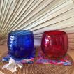 ご結婚祝い・引出物・内祝・記念日に!琉球ガラス ペアグラスギフトセット  モールタルグラス(赤・青色)・紅型コースター付(ギフトラッピング無料!)