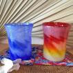 御祝・記念日にペアグラスはいかが?琉球ガラス・ペアグラスギフト・ マーブルタンブラーセット(赤・青色)・紅型コースター付(ギフトラッピング無料!)
