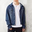 デニムジャケット メンズ Gジャン ジージャン ダメージ加工 ビンテージ加工 カットデニム スウェット素材 ストレッチ ブルゾン デニム トップス
