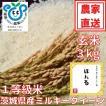 玄米 3kg 茨城県産ミルキークイーン ほたる