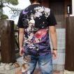 和柄 Tシャツ 半袖 刺繍 メンズ 大きいサイズ 花魁 2018年新作