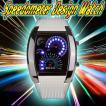 スピードメーター 腕時計 スピードメーター時計 ホワイト LED腕時計 デジタルウォッチ デジタル表示 LEDデジタル腕時計 メンズ メンズ用腕時計