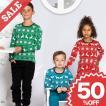 北欧 子供服 Tシャツ 長袖 クロスステッチ柄 トナカイ 雪 結晶 青 赤 緑 オーガニックコットン