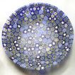 ベネチアングラス 皿 (中) ミルフィオーリ (紺系) イタリア製 モレッティ社