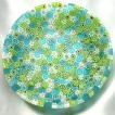 ベネチアングラス 皿 (中) ミルフィオーリ (水色・緑・白) イタリア製 モレッティ社