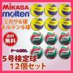 バレーボール5号検定球 12個セット「ミカサ6球とモルテン6球」V5M5-MVA3-12 (ネームなし)