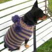 犬のセーター【Bon Bon ボーダーセーター_パープル】手編みセーター/犬のニット/ペットセーター/犬服/犬の洋服