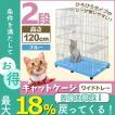 キャットケージ 2段 ワイドタイプ プラケージ 猫ケージ ペットケージ 室内ハウス キャット ケージ ブルー