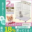 キャットケージ 2段 ワイドタイプ プラケージ 猫ケージ ペットケージ 室内ハウス キャット ケージ ホワイト