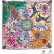 【直営買付】エルメス スカーフ カレ90 2015秋冬 L'Arbre du Vent 風の大樹 Rosepale/Vert/Multicolore シルク レディース HERMES ソルド(M206772)