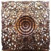 (夏休み特別セール)壁掛け 木彫り レリーフ 格安インテリアのカービング壁掛け 大 60cmx60cm 正方形 花025