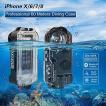 iPhone X/6/7/8 防水ケース ブラック ブルートゥース制御、195ft 60 mの認定が使える防水水中水泳ダイビングサーフシ