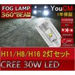 H8/H11/H16 30W ハイパワー フォグランプ専用LED 左右2個セット[1年保証][YOUCM]