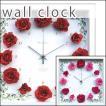 掛け時計 掛時計 アートフレーム おしゃれ アートクロック インテリアクロック インテリアアートパネル 壁掛け時計 造花 花薔薇 アートフラワー 木製