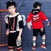 キッズ ダンス衣装 ヒップホップ HIPHOP ダンストップス 子供 子供 男の子 セットアップ ジャズダンス 五分袖 帽子付き 演出服 練習着 ステージ衣装