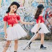 キッズ ダンス衣装 セットアップ ヒップホップ HIPHOP 子供 ダンス 女の子 トップス スカート チアガール ステージ衣装 練習着 応援団 体操服