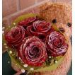 ぬいぐるみと花:誕生日のプレゼントや結婚記念日等お祝いに人気、とっても可愛らしい抱きつきクマのキラキラ光る赤いバラのミニブーケセット