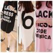 レディースファッション トップスTシャツ カットソー 五分 七分袖 チュニック 大きいサイズ プリント ホワイト ブラック ピンク