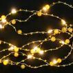 (イルミネーション 飾り クリスマス ハロウィン)ジュエリーガーランド シルバーコード/電球色球 無点滅(CL96)