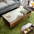 テーブル ガラス 木製 ローテーブル 引き出し 北欧 おしゃれ センターテーブル ガラステーブル リビングテーブル 収納 ディスプレイ モダン シンプル 人気