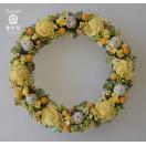 黄・オレンジのお花、ドライフラワーリース