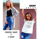 ロングストライプシャツ+Tシャツセット ANA...