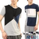異素材 切り替え Tシャツ メンズ 半袖 クルーネック・Vネック スラブ サーマル ボーダー