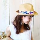 SALE  帽子  ボタニカル柄 中折れ ハット       レディースファッション   ファッション小物   帽子  中折れ帽、パナマ帽  ペーパーハット