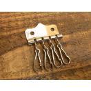 4連 キー金具 ニッケル 銀 キーケース レザー キーホルダー 鍵 金具 パーツ ベルト 革 リング カスタム レザークラフトに