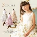 子供ドレス 女の子 花柄プリントのオーガンジードレス クリスマス 110 120 130 140 150 cm