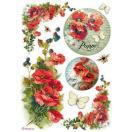 スタンペリア Stamperia イタリア デコパージュ用ライスペーパー Rice paper A4 ポピー 花 Papaveri DFSA4174
