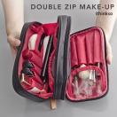 化粧ポーチ コスメポーチ メイクポーチ メイクケース ithinkso DOUBLE ZIP MAKE-UP バニティバッグ ポーチ コスメバッグ 旅行 機能的 小物入れ 化粧道具 セール