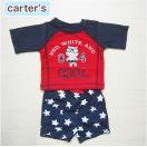 カーターズ正規品Carter's-S2)ネイビー×レッドの半袖ラッシュガード&星柄スイムパンツの水着(6M9M12M18M6ヶ月9ヶ月12ヶ月18ヶ月1歳1才2歳2