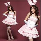 サンタ コスプレ 衣装 バニーガール コスチューム レディース 4点セット ピンク cosplay ワンピース フリーサイズ