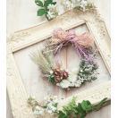 麦と白い花のナチュラル ドライフラワー リース