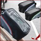 自転車 スマホ操作可能 取付簡単 自転車用 携帯ポーチ 1.5Lサイズ 自転車フレーム取付 イヤホン装着口付 レッド ブルー グリーン