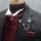 ◆礼装◆アスコットタイ チーフ付 ◇ワイン(銀ラメ入)◇シルク100% 日本製  メンズフォーマル