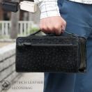 セカンドバッグ メンズ 鞄 牛革 オーストリッチ ダブルファスナー 2色