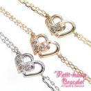 ダイヤブレスレット/K10ゴールド ホワイトゴールド ピンクゴールド イエローゴールド ブレス ハート レディース