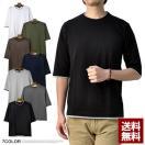 Tシャツ メンズ 5分袖 クルーネック 丸首 配色 ダブルクルーネック フェイクレイヤード 5分袖Tシャツ D1N【パケ1】