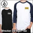 VOLCOM ボルコム tシャツ 七分丈 ロンT メンズ Wrecker 3/4 Rgln Tee 長そで ヴォルコム メール便可