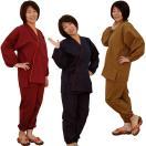 女性用作務衣 民芸さむえ オールシーズン 3色(M/L)綿100%(2枚以上で送料無料)
