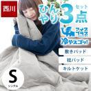 東京西川 ひんやり寝具3点セット シングル 接触冷感アイスプラス 肌掛け布団 冷感敷きパッド 枕パッド