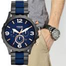 FOSSIL フォッシル Nate ネイト ネイビー/ガンメタル ビッグフェイス クロノグラフ アナログ メンズ 腕時計 JR1494