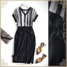 【対象商品3着目無料】シンプル モノトーン ドレス パーティードレス ワンピース シルク ブラック 大人上品 大人かわいい 大きいサイズ  cae48-nf170823