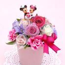 ミッキー&ミニー レインボーローズ の 花水玉ポット プリザーブドフラワー入り造花 disney226